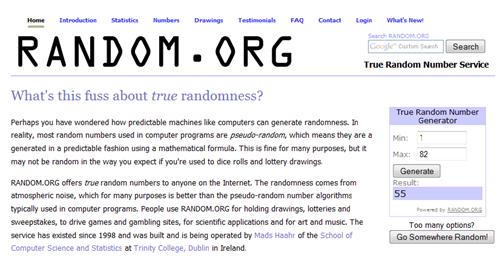 RANDOM.ORG - True Random Number Service_1262477131248