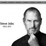 Home du site d'Apple juste après l'annonce du décès