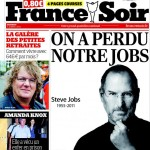 Une du journal France Soir en hommage à Steve Jobs